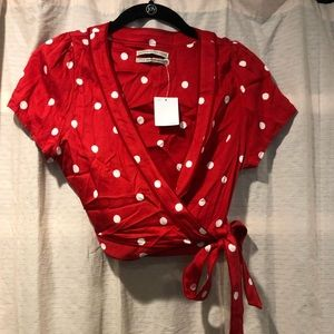 Red Polka Dot Crop Tie Top- Urban Outfitters